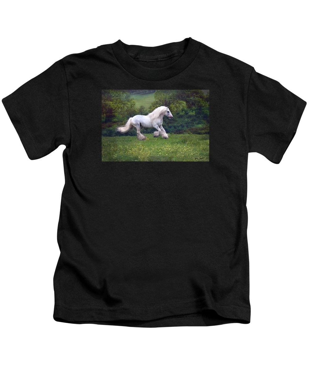 Horse Kids T-Shirt featuring the photograph Free Billy by Fran J Scott