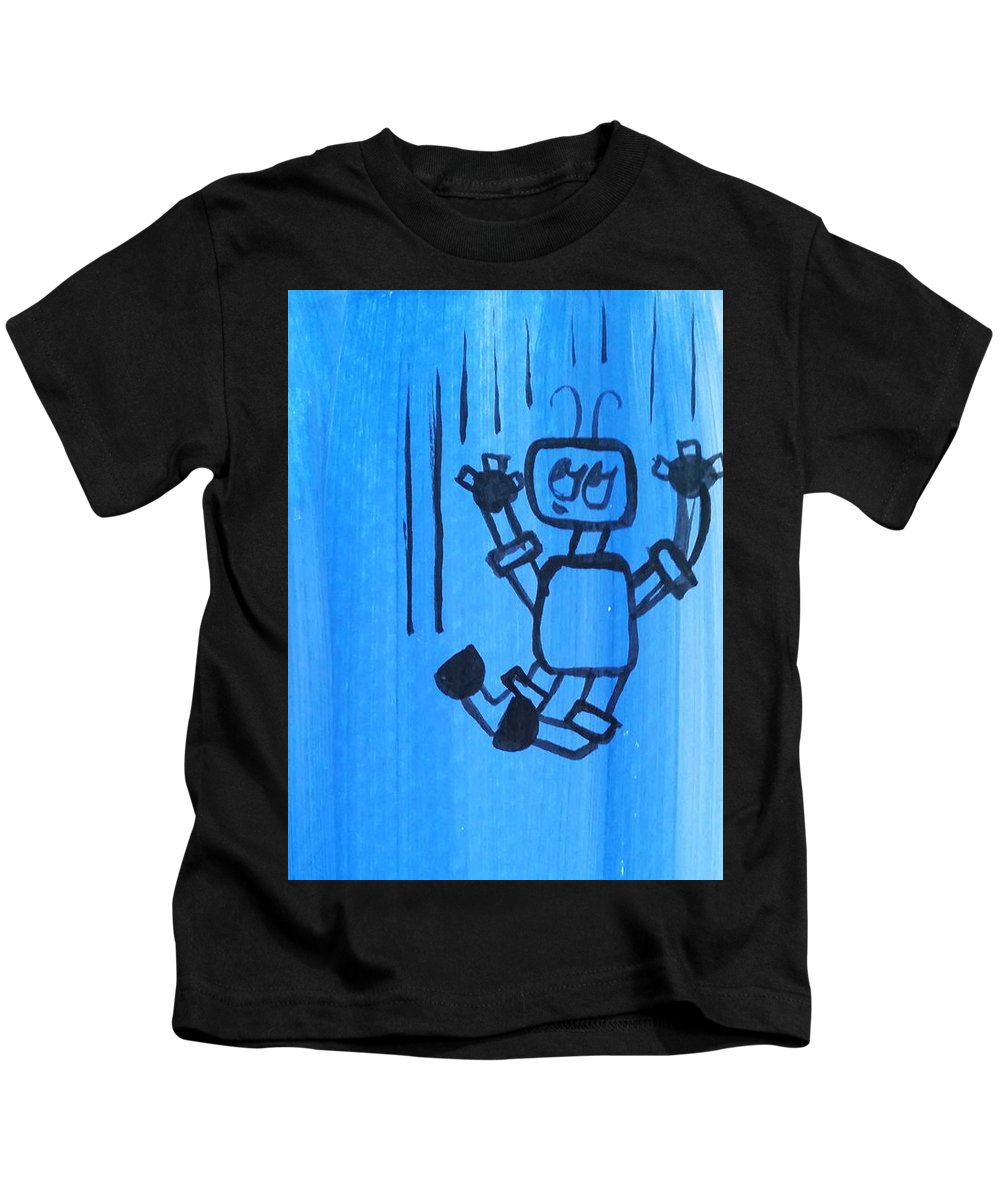 Blue Kids T-Shirt featuring the painting Free Fall by Kelly Brimberry