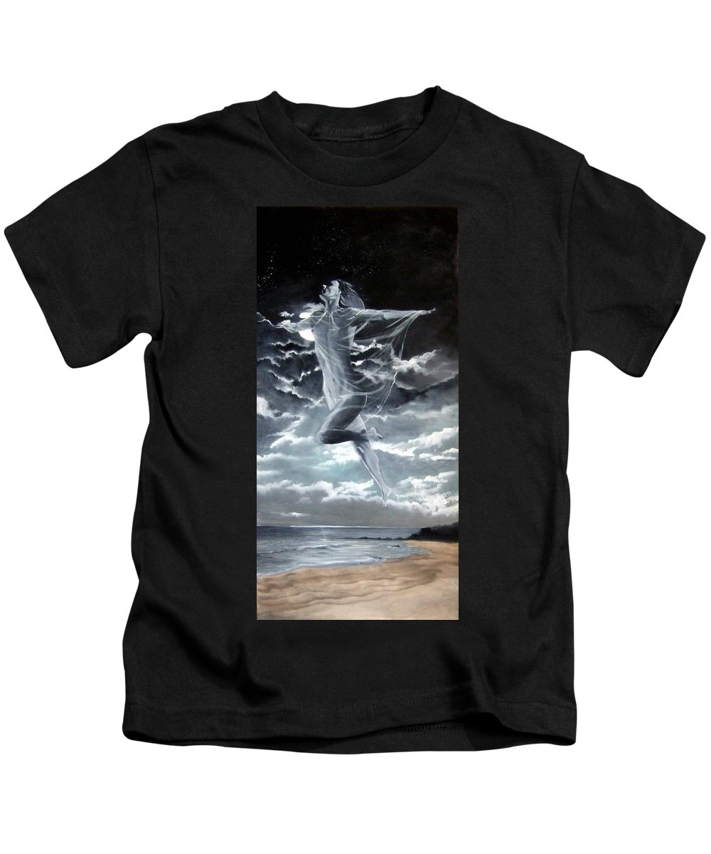 Moon Kids T-Shirt featuring the painting Freedom by Jane Simpson