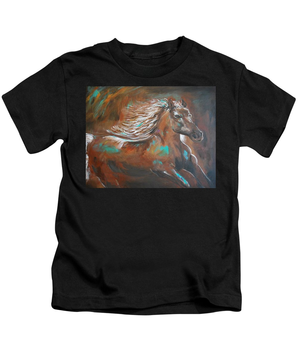 Horse Abstract Canvas Prints Kids T-Shirt featuring the painting Freedom Run by Leslie Allen