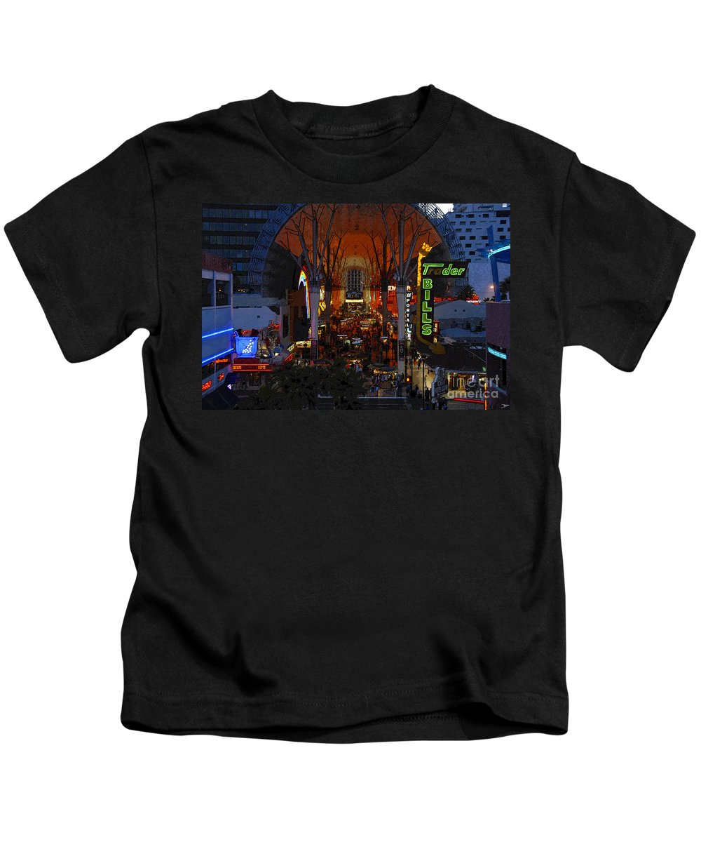 Art Kids T-Shirt featuring the painting Fremont Street Nevada by David Lee Thompson