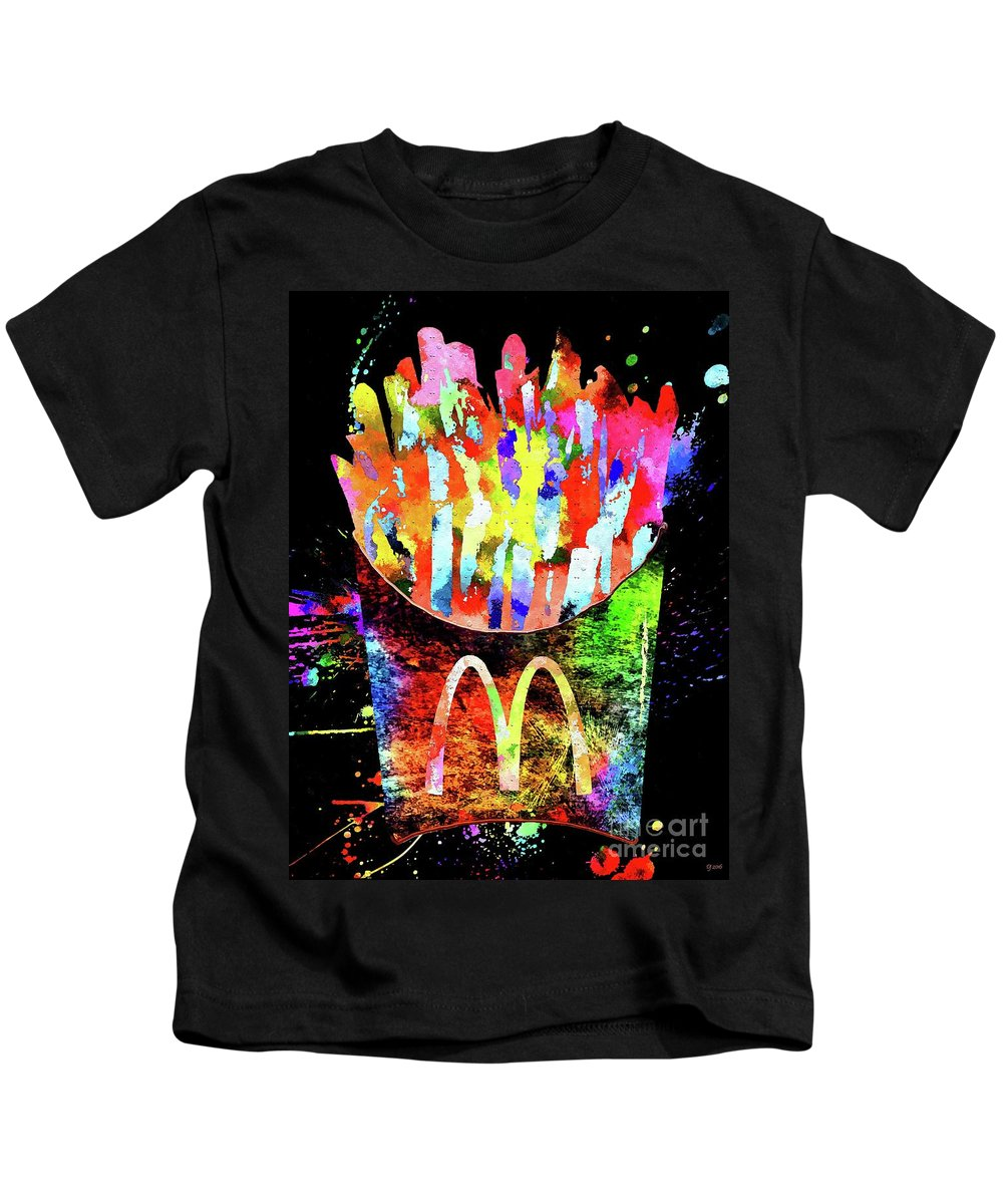 French Fries Kids T-Shirt featuring the mixed media French Fries by Daniel Janda