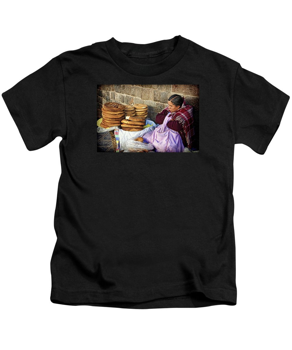 Peru Kids T-Shirt featuring the photograph Fresh Bread by Claude LeTien