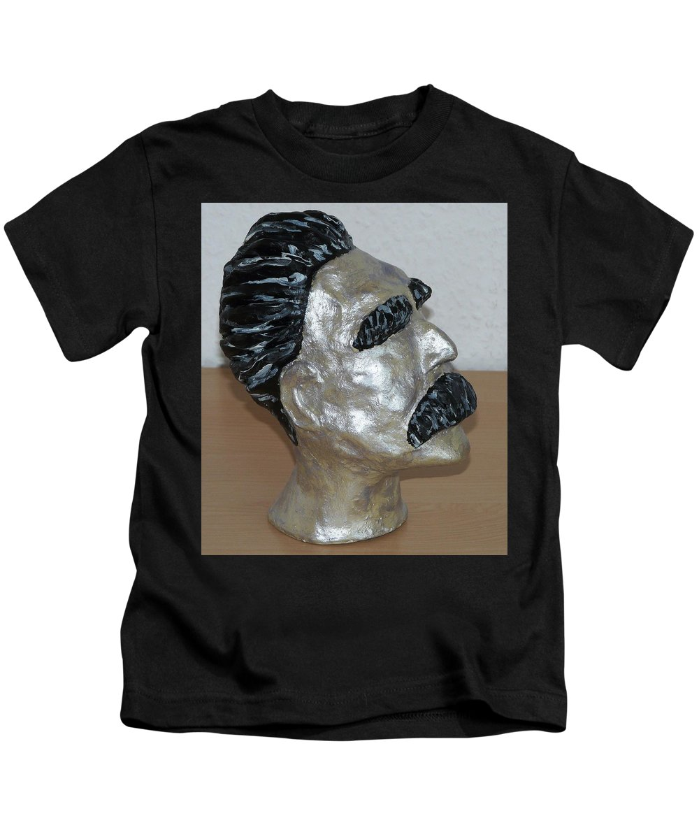 Nietzsche Kids T-Shirt featuring the sculpture Friedrich Nietzsche by Valerie Ornstein