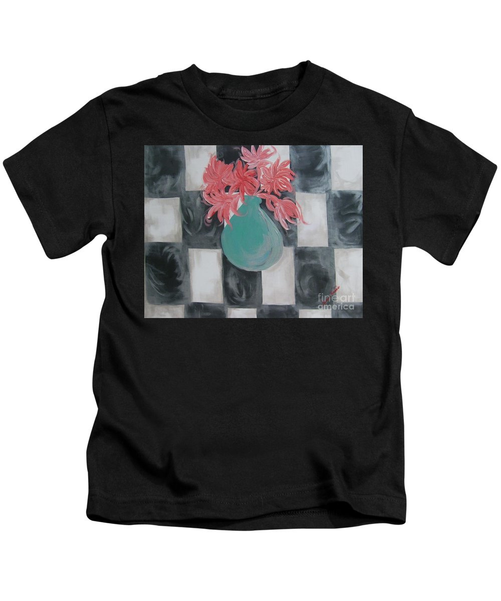 Acrylic Painting Kids T-Shirt featuring the painting Friendly Flowers by Susan Harris