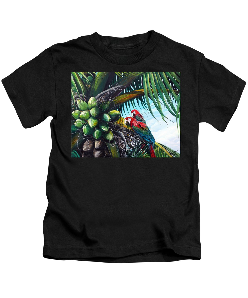 Macaws Bird Painting Coconut Palm Tree Painting Parrots Caribbean Painting Tropical Painting Coconuts Painting Palm Tree Greeting Card Painting Kids T-Shirt featuring the painting Friends Of A Feather by Karin Dawn Kelshall- Best