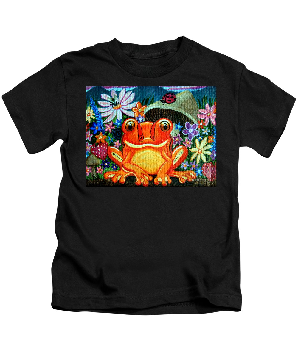 Frogs Kids T-Shirt featuring the painting Frog And Flowers by Nick Gustafson