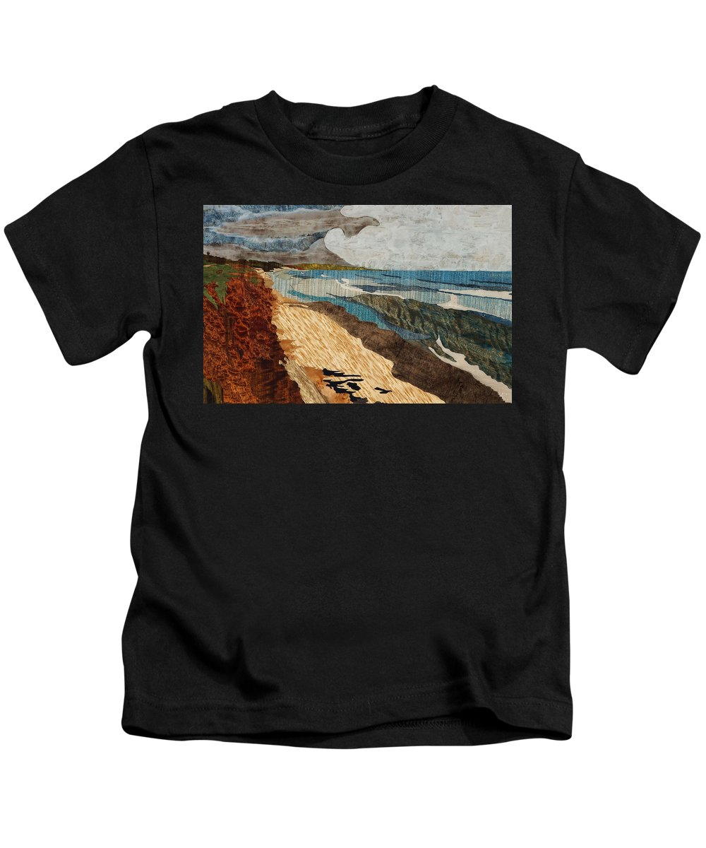 Marquetry Kids T-Shirt featuring the painting From 9th St by Mac Hillenbrand