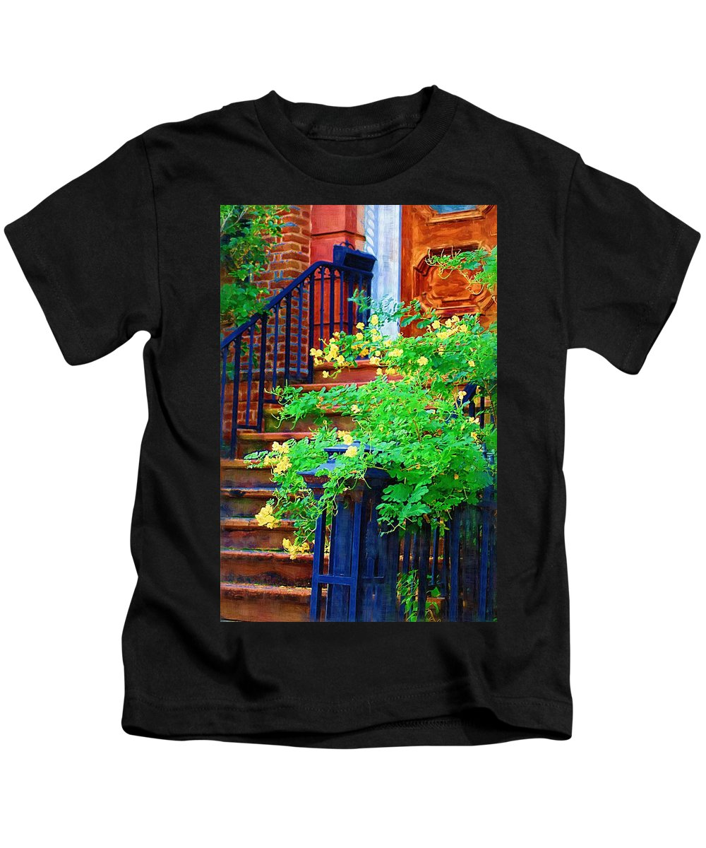 Front Door Kids T-Shirt featuring the photograph Front Stoop by Donna Bentley