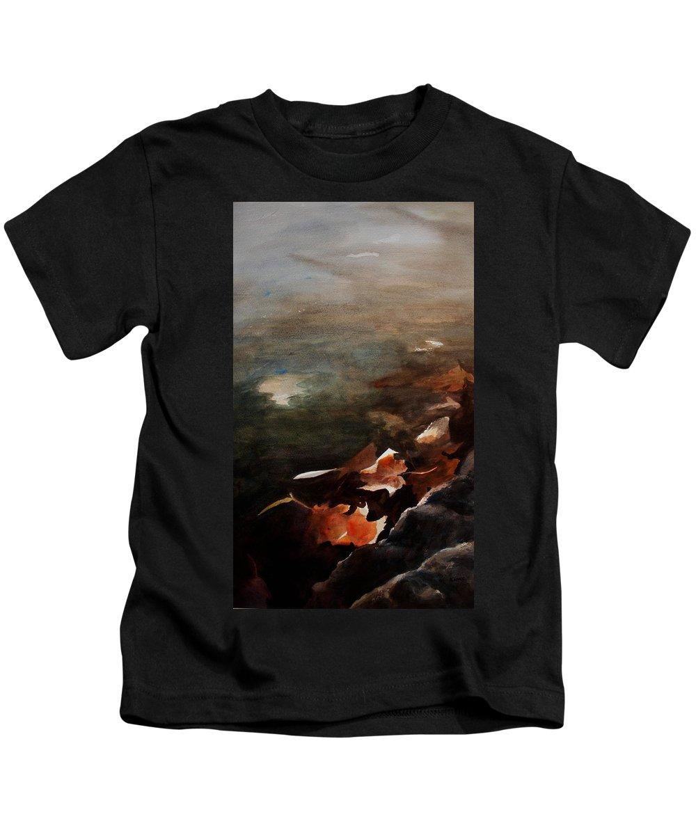 Landscape Kids T-Shirt featuring the painting Frozen Memories by Rachel Christine Nowicki