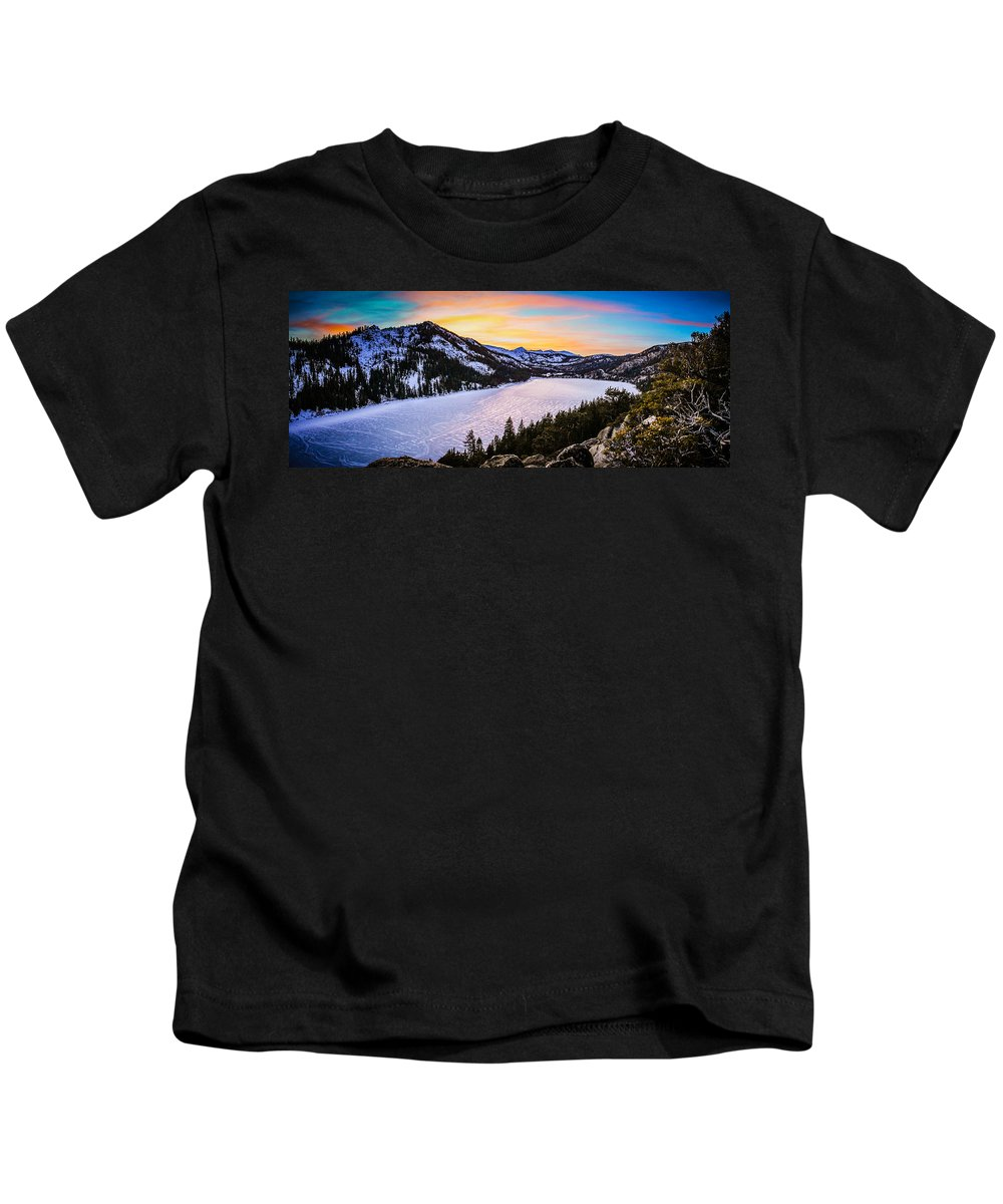 Landscape Kids T-Shirt featuring the photograph Frozen Reflections At Echo Lake by Mike Herron