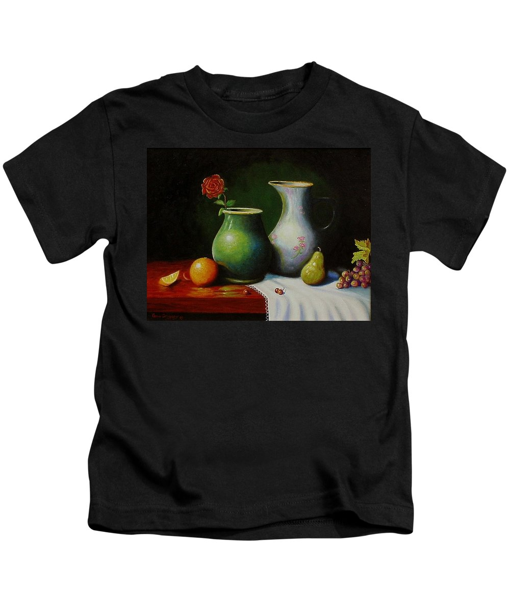Still Life Kids T-Shirt featuring the painting Fruit And Pots. by Gene Gregory