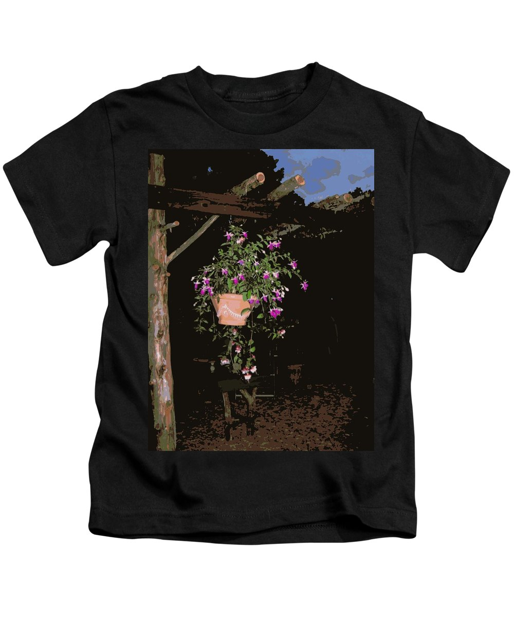 Posterized Kids T-Shirt featuring the photograph Fuchsia Hanging Basket On Rustic Log Pergola by Teresa Stallings