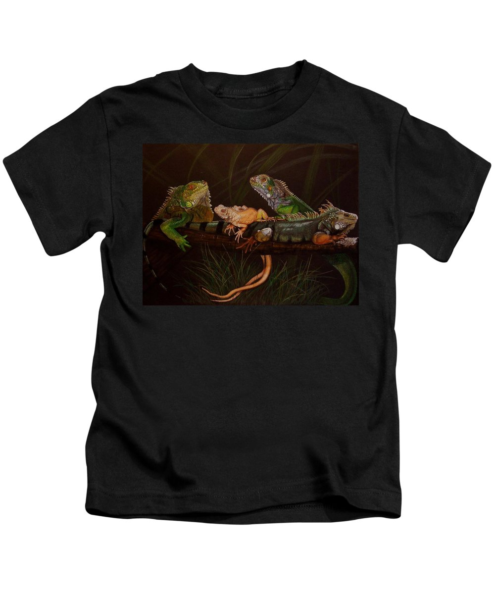 Iguana Kids T-Shirt featuring the drawing Full House by Barbara Keith