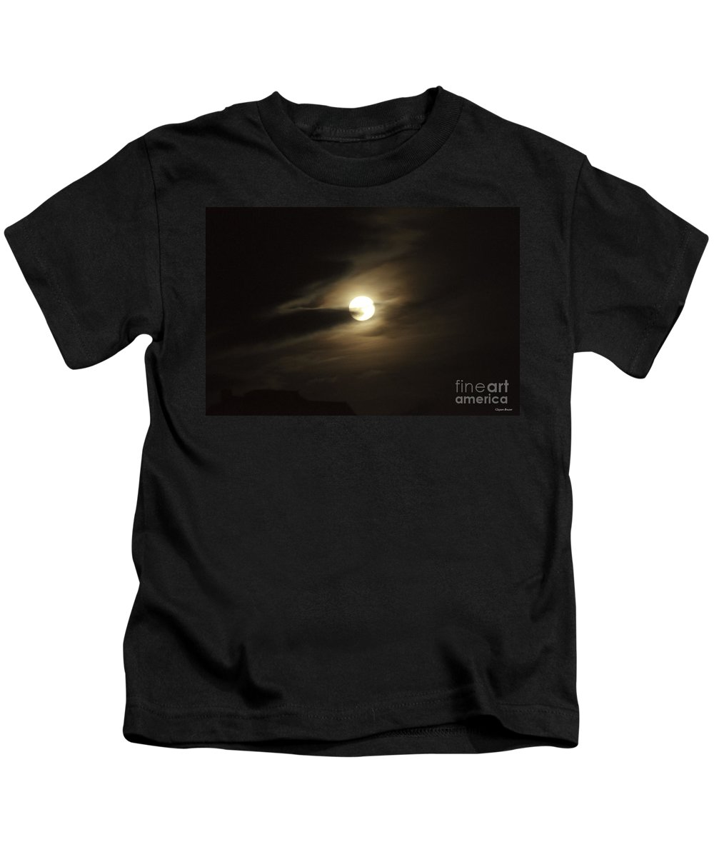 Art Kids T-Shirt featuring the photograph Full Moon Howling by Clayton Bruster