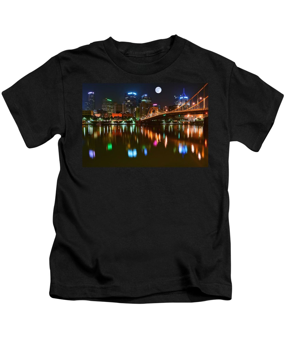 Pittsburgh Kids T-Shirt featuring the photograph Full Moon Over Pittsburgh by Frozen in Time Fine Art Photography