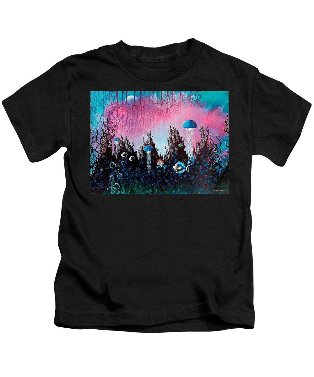 Beach House Kids T-Shirt featuring the painting Full Moon Rising by Lee Pantas