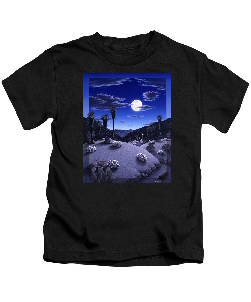 Desert Kids T-Shirt featuring the painting Full Moon Rising by Snake Jagger