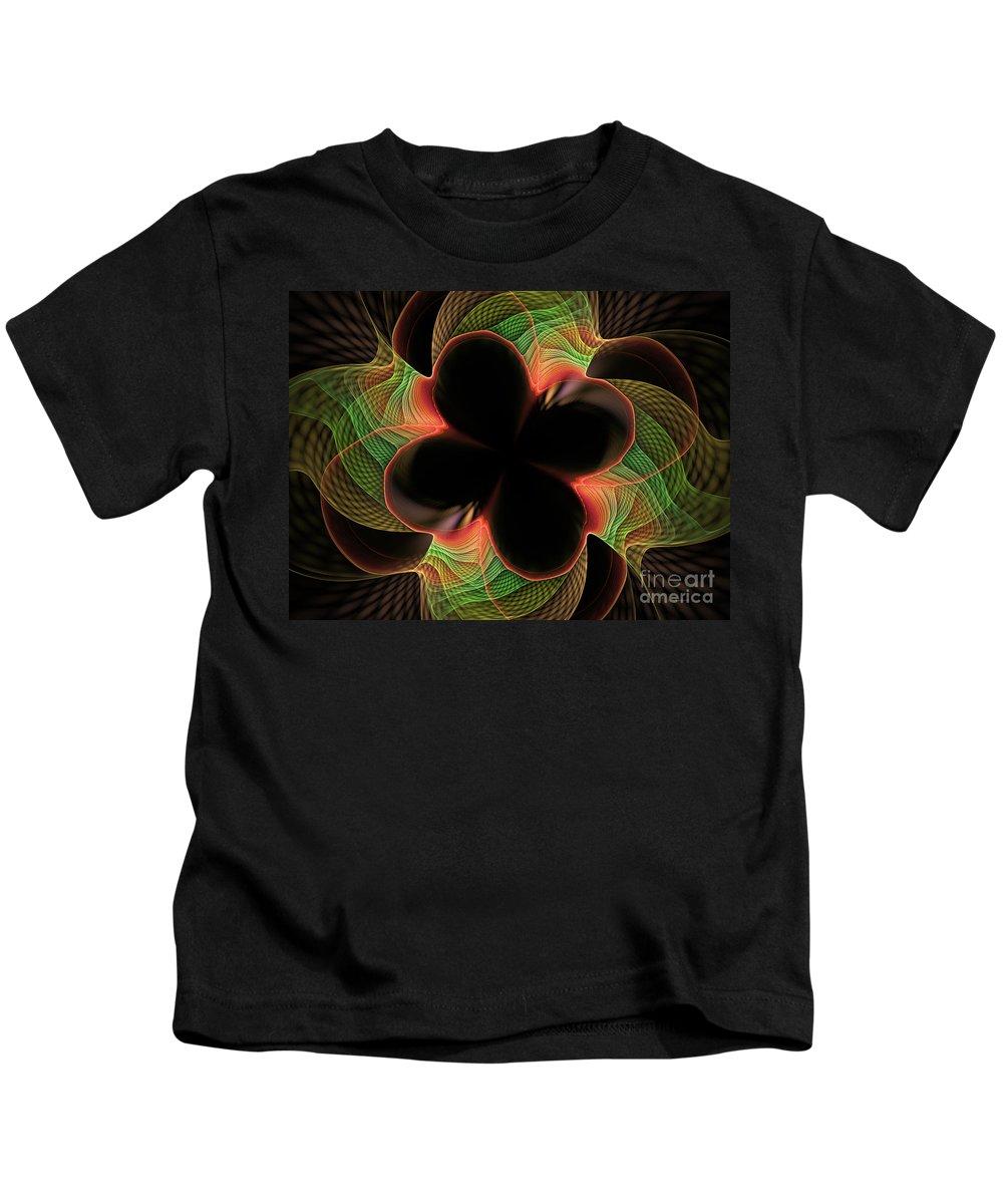 Digital Kids T-Shirt featuring the digital art Funky Clover by Deborah Benoit