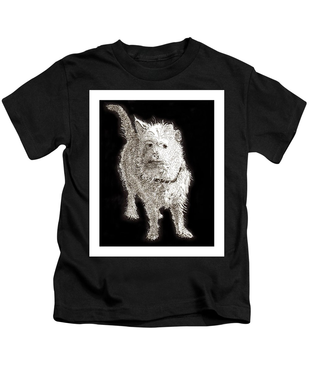 Ink Drawings Of Dogs  Dog Prints  Prints Of Dogs  Pen & Ink Drawings Of Dogs  Cute Black & White Dog Prints  Kids T-Shirt featuring the painting Fuzzy Molly by Jack Pumphrey