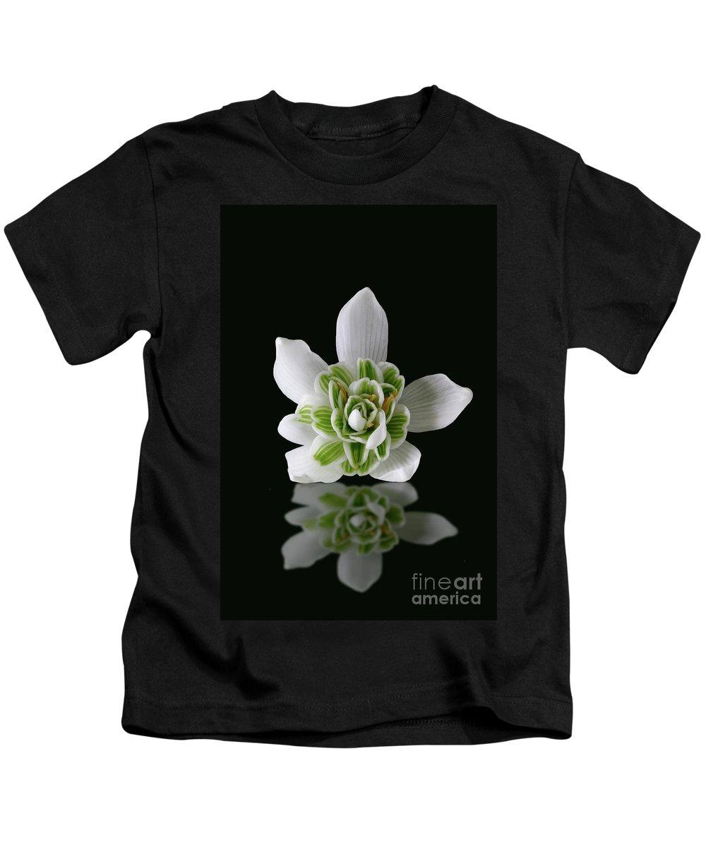 Galanthus Nivalis Kids T-Shirt featuring the photograph Galanthus Nivalis Flore Pleno by John Edwards