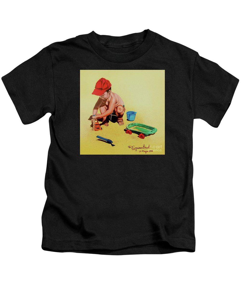 Beach Kids T-Shirt featuring the painting Game at the beach - Juego en la playa by Rezzan Erguvan-Onal