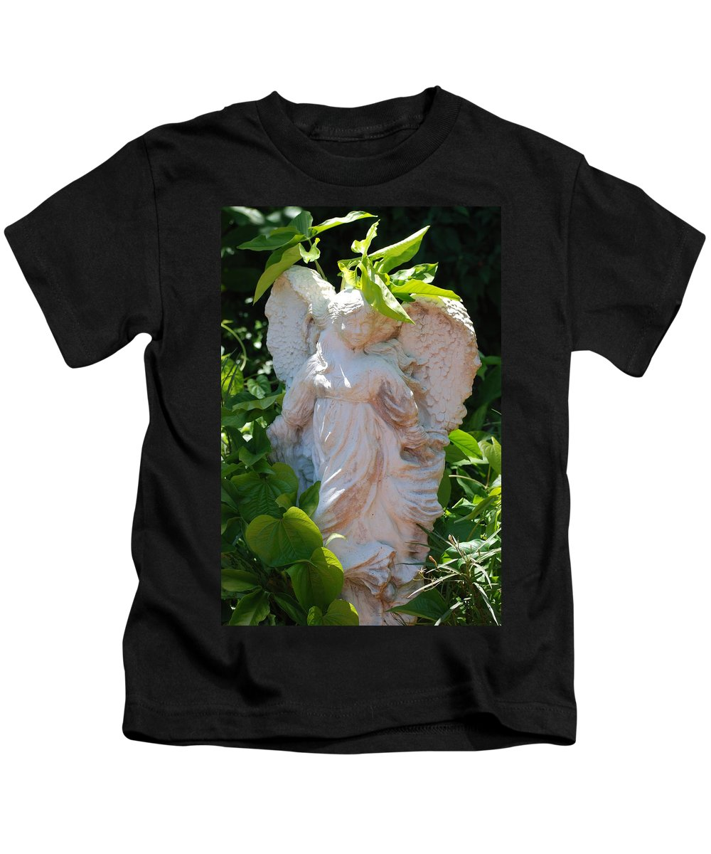 Angels Kids T-Shirt featuring the photograph Garden Angel by Rob Hans