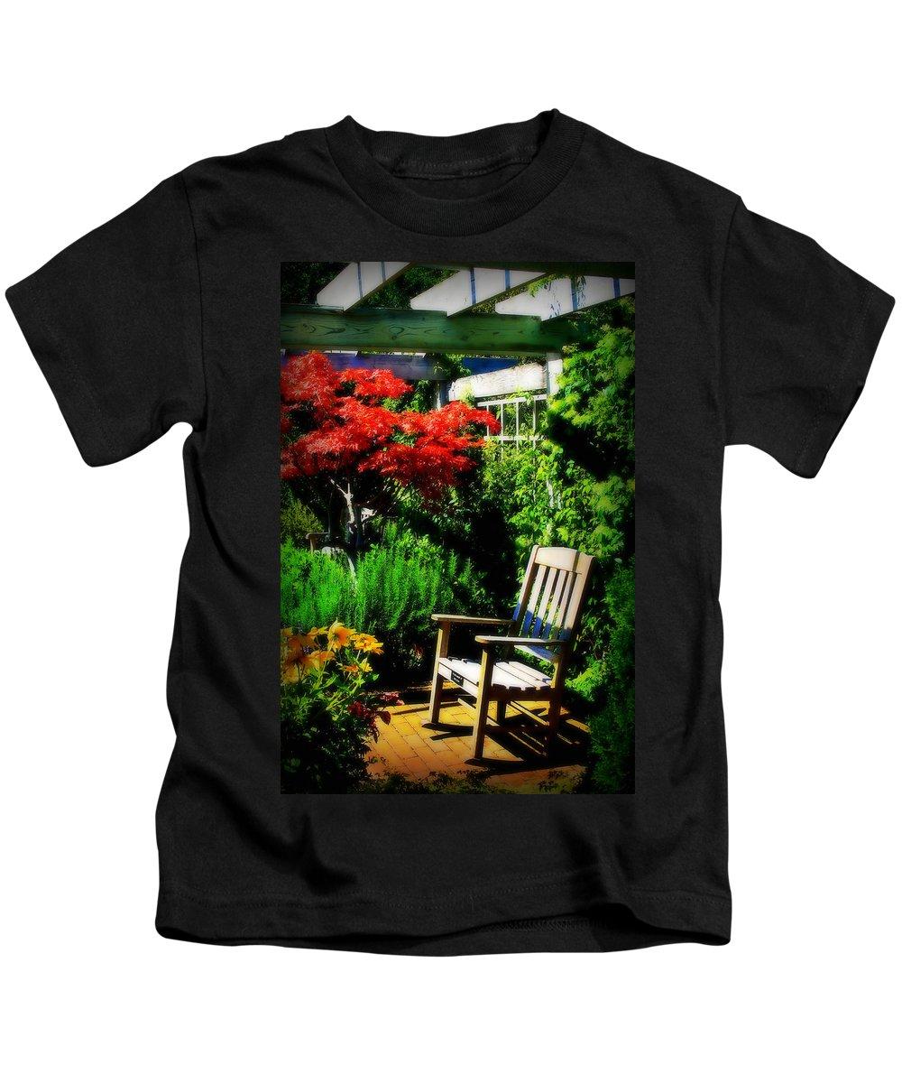 Garden Kids T-Shirt featuring the photograph Garden Chair by Perry Webster