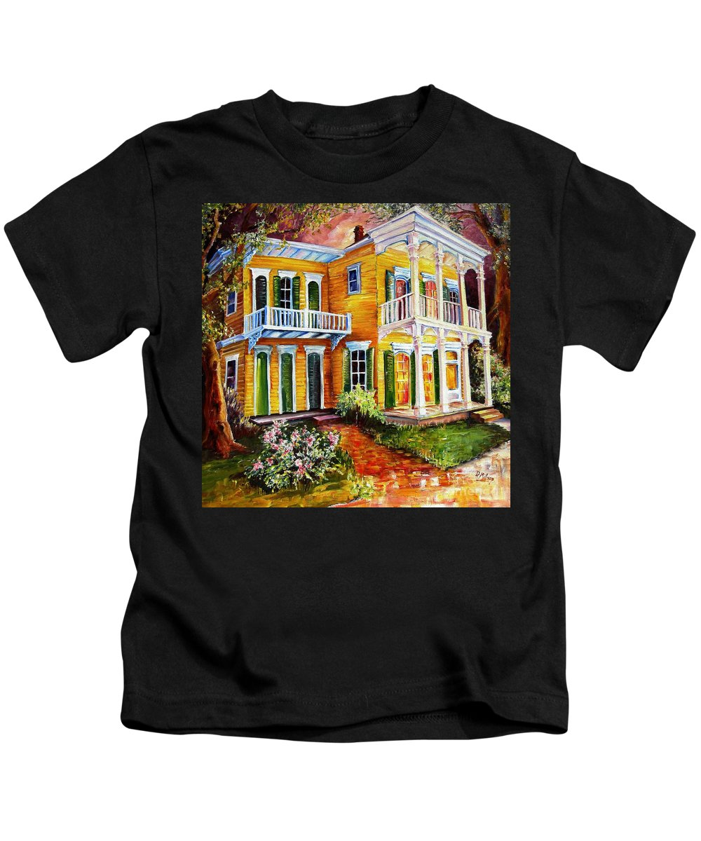 New Orleans Paintings Kids T-Shirt featuring the painting Garden District Home by Diane Millsap