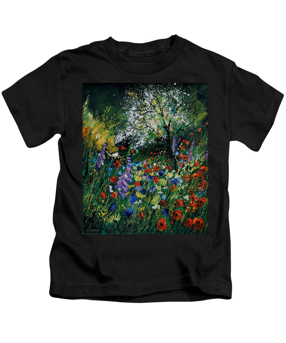 Flowers Kids T-Shirt featuring the painting Garden Flowers by Pol Ledent