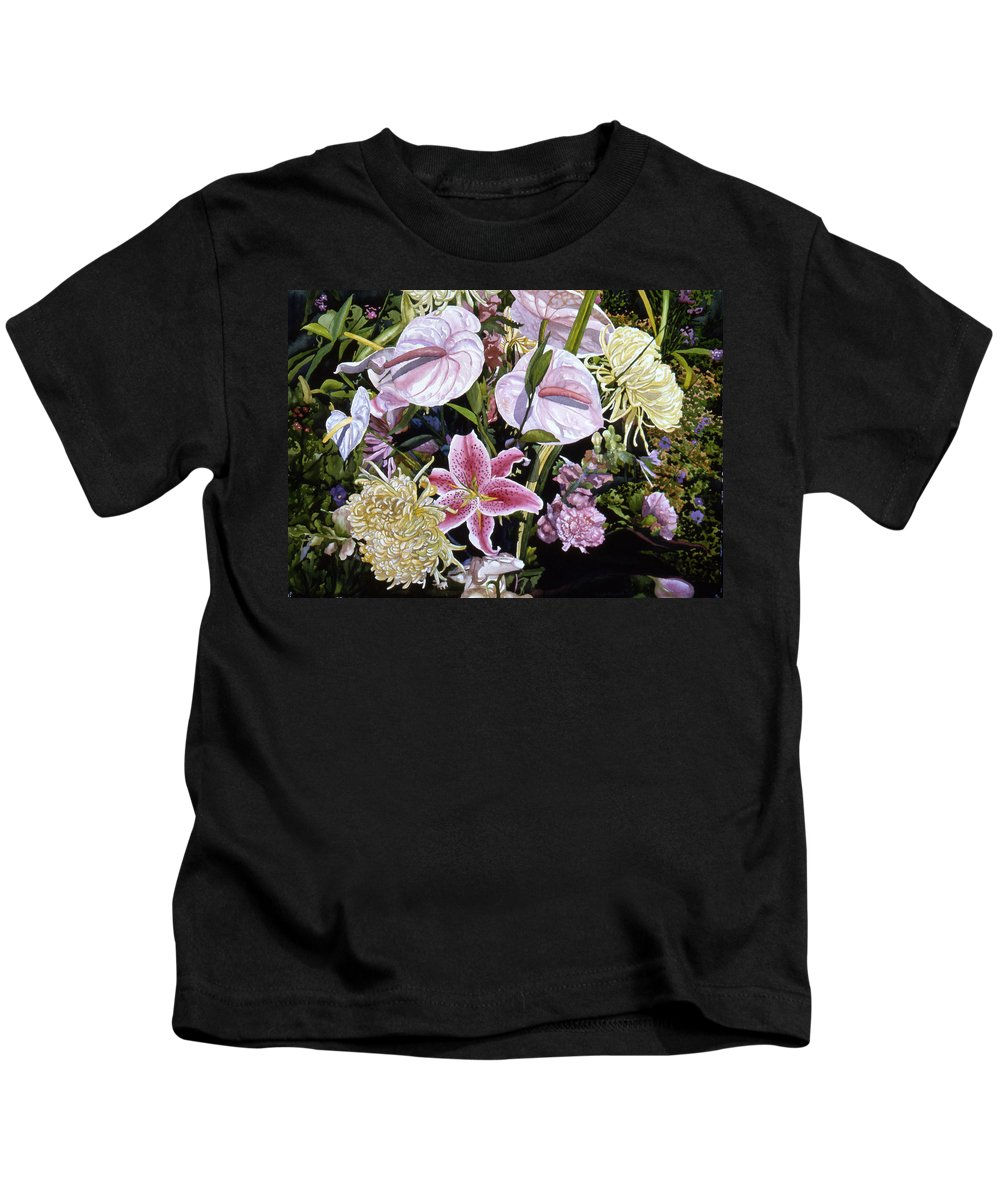 Watercolor Kids T-Shirt featuring the painting Garden Song by Teri Starkweather