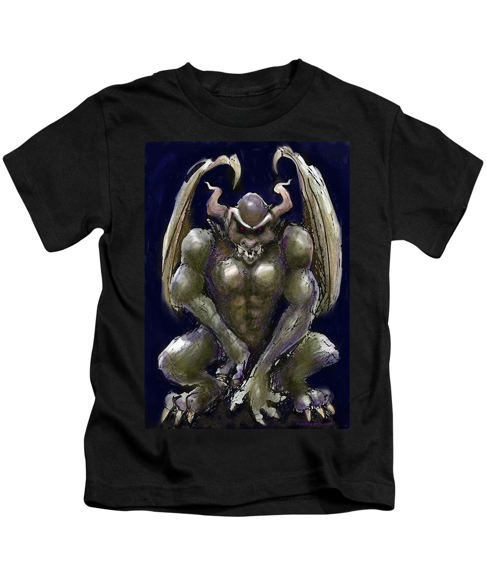 Gargoyle Kids T-Shirt featuring the greeting card Gargoyle by Kevin Middleton