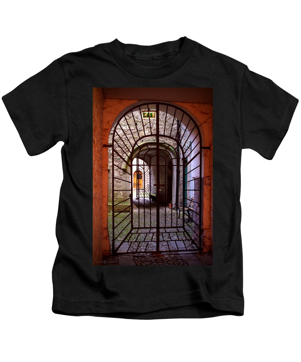 Gate Kids T-Shirt featuring the photograph Gated Passage by Tim Nyberg