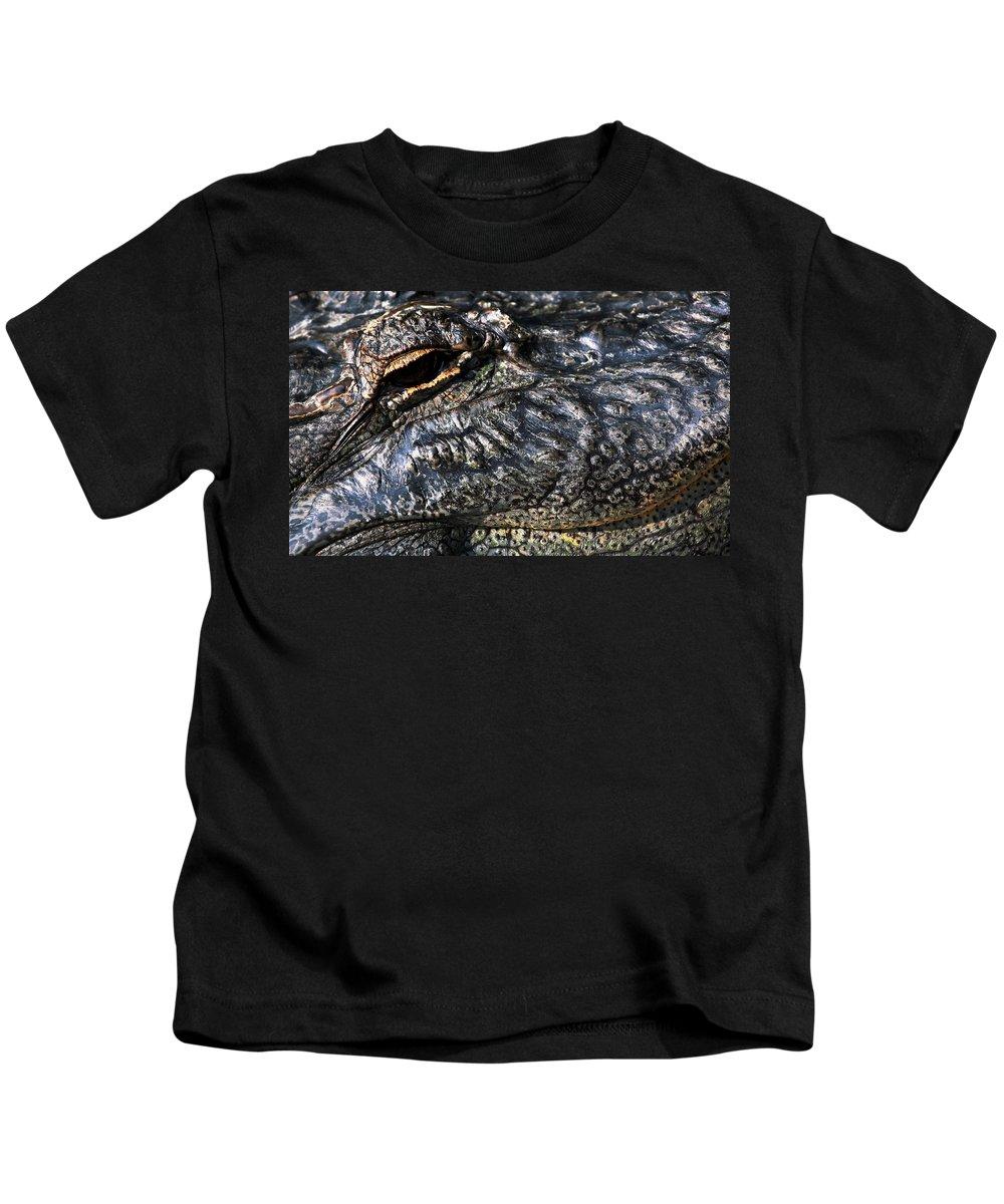 Gator Kids T-Shirt featuring the photograph Gator Eye by Karol Livote