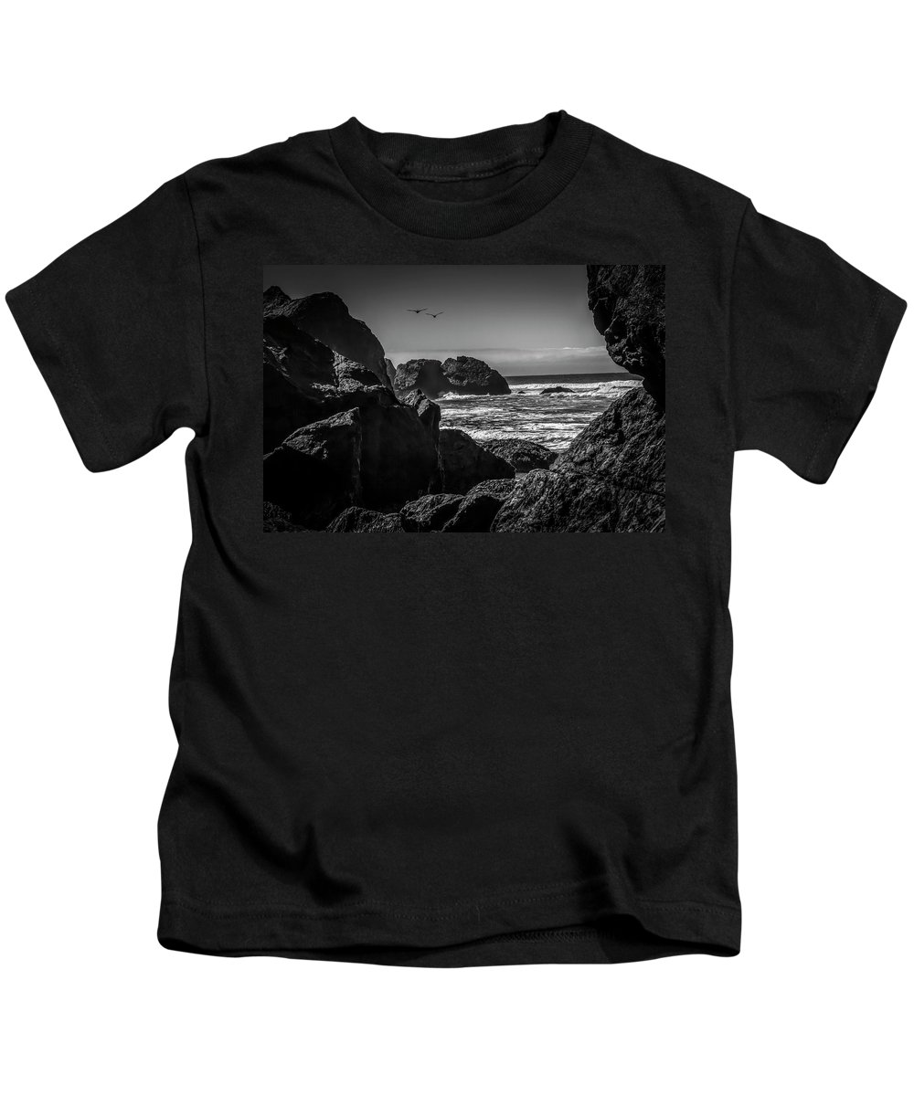 Formation Kids T-Shirt featuring the photograph Geese Attack by Bruce Bottomley