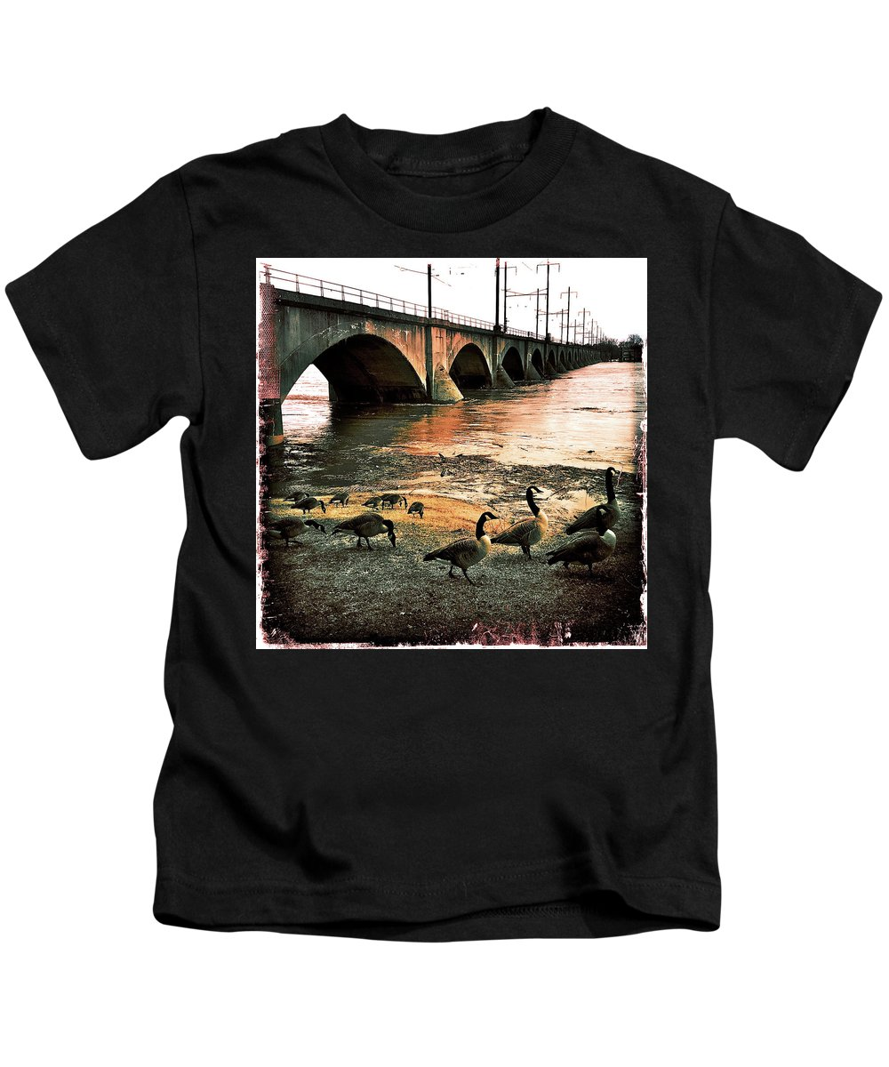 Geese Kids T-Shirt featuring the photograph Geese On A Stroll by Kevyn Bashore