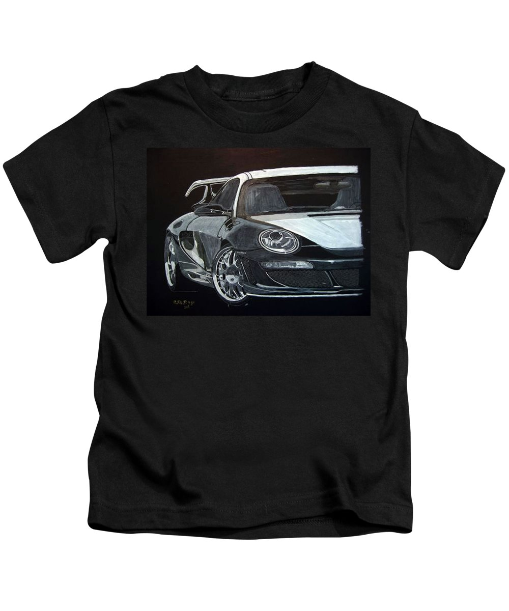 Car Kids T-Shirt featuring the painting Gemballa Porsche Right by Richard Le Page