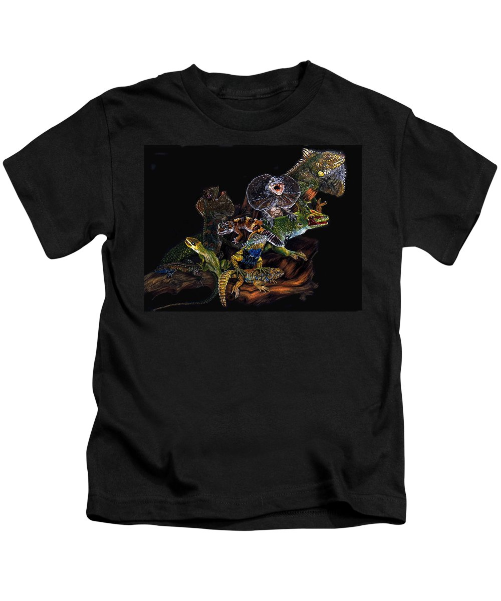 Lizards Kids T-Shirt featuring the drawing Gems And Jewels by Barbara Keith