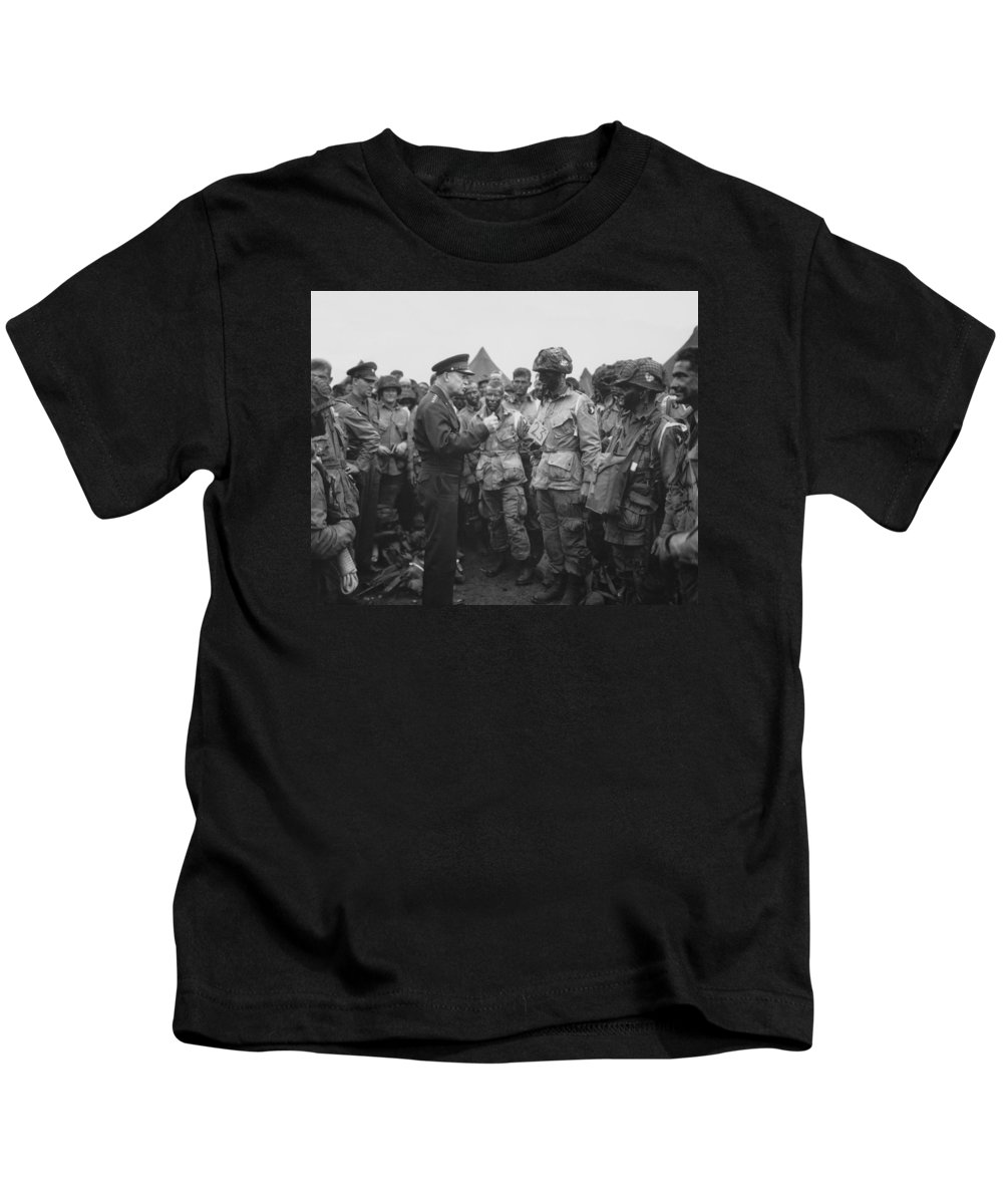 101st Airborne Division Kids T-Shirt featuring the photograph General Eisenhower On D-day by War Is Hell Store
