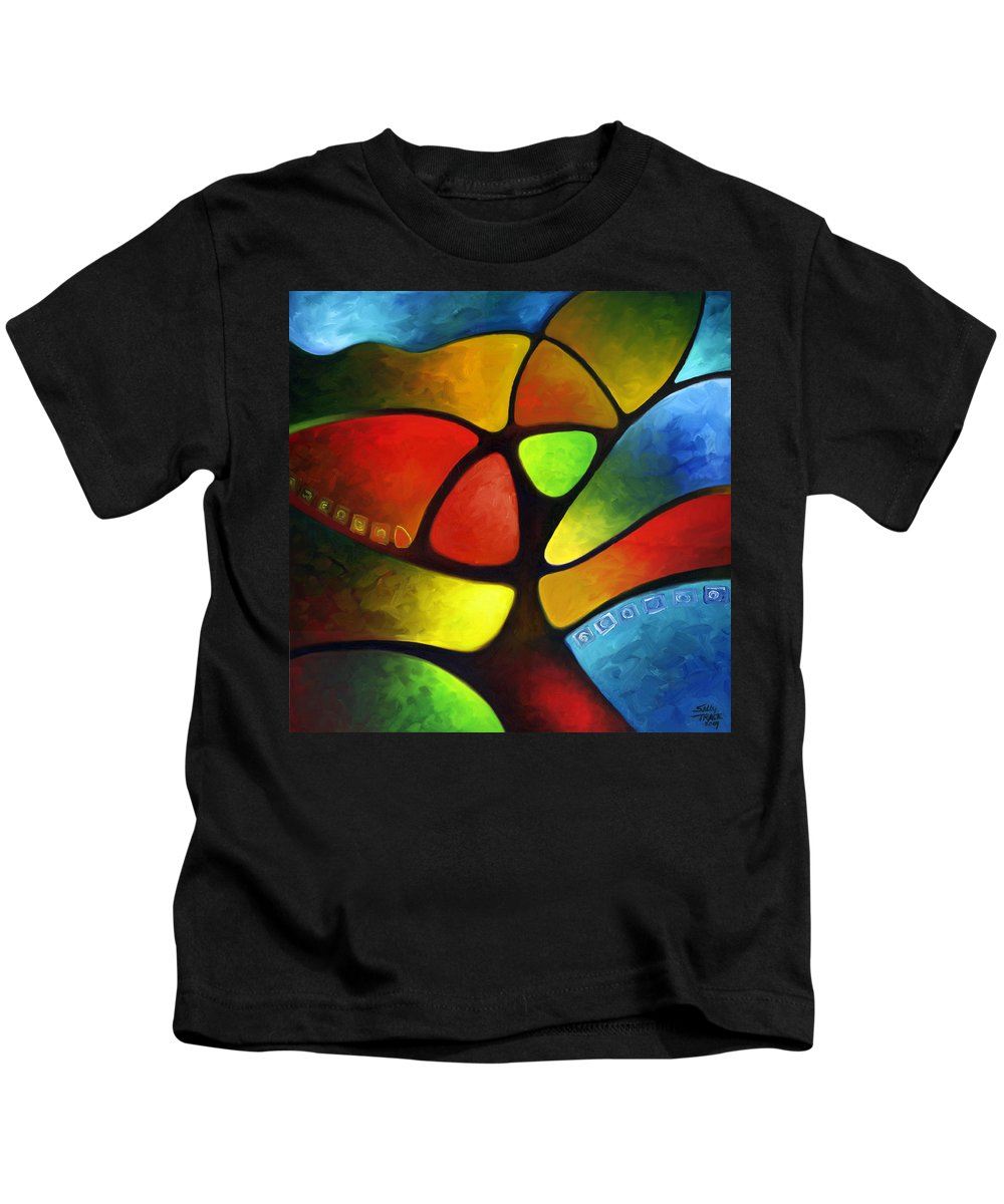 Tree Kids T-Shirt featuring the painting Geometree by Sally Trace
