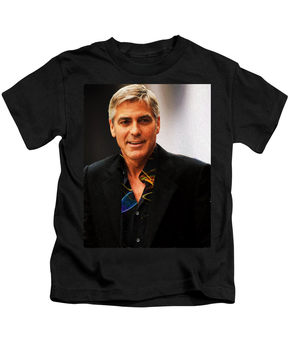 George Clooney Kids T-Shirt featuring the photograph George Clooney Painting by Ericamaxine Price