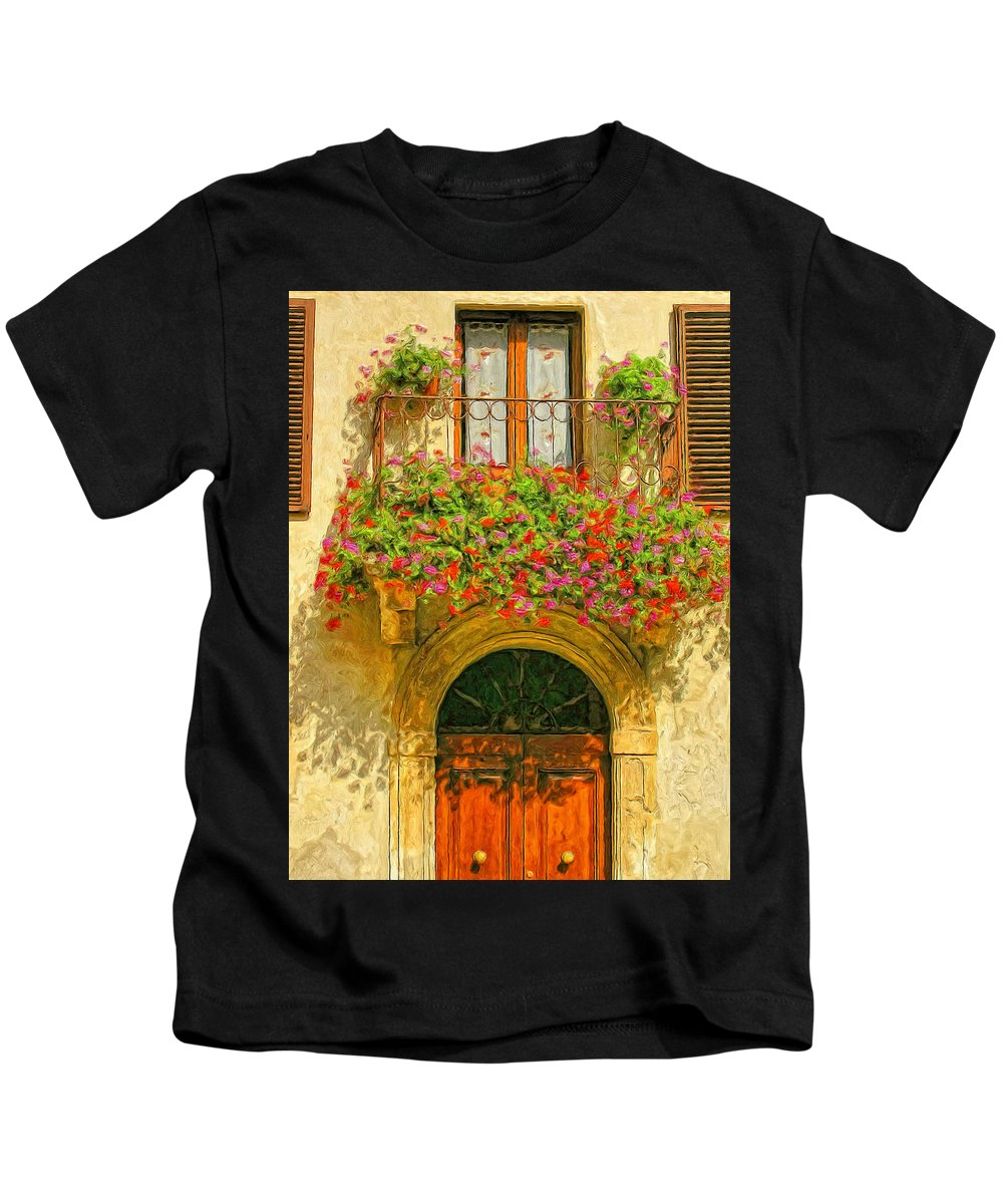 Italy Kids T-Shirt featuring the painting Gerani Coloriti by Dominic Piperata