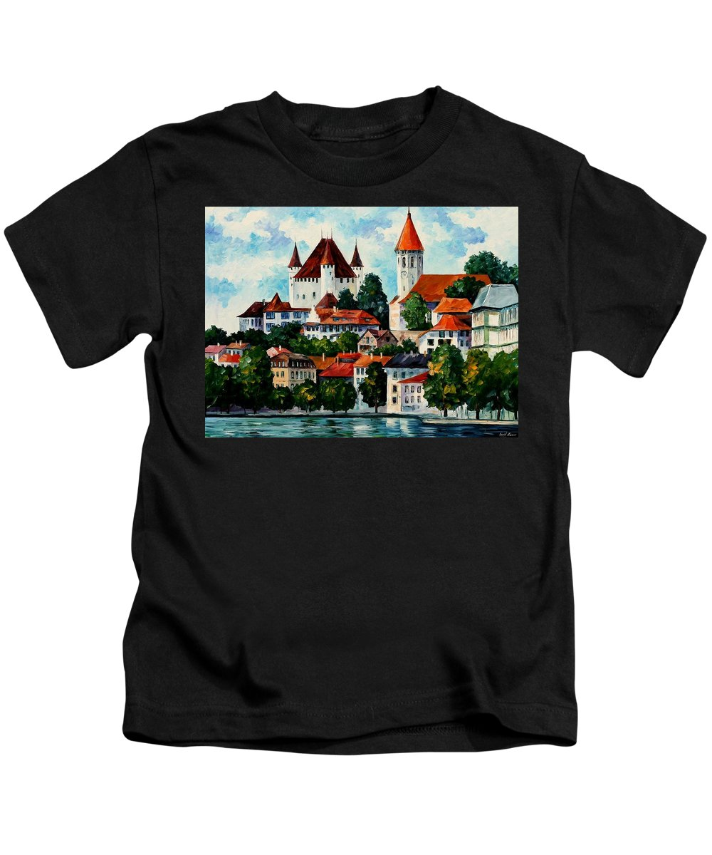 Afremov Kids T-Shirt featuring the painting Germany - Clouds Above The Rhine by Leonid Afremov
