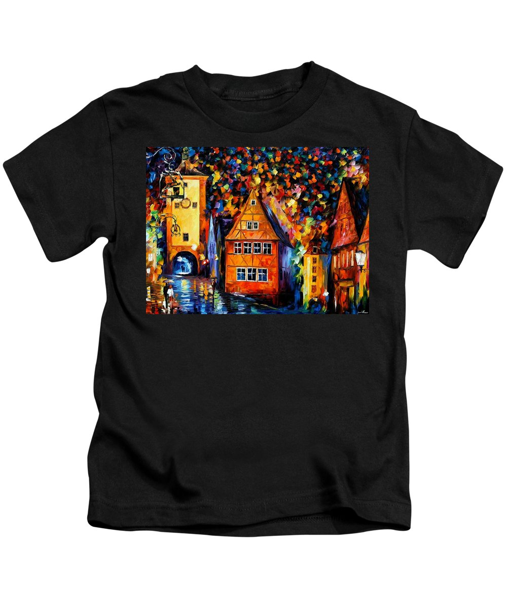Afremov Kids T-Shirt featuring the painting Germany - Medieval Rothenburg by Leonid Afremov