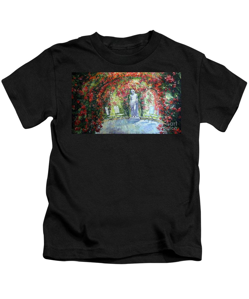 Oil Kids T-Shirt featuring the painting Germany Baden-baden Rosengarten 02 by Yuriy Shevchuk