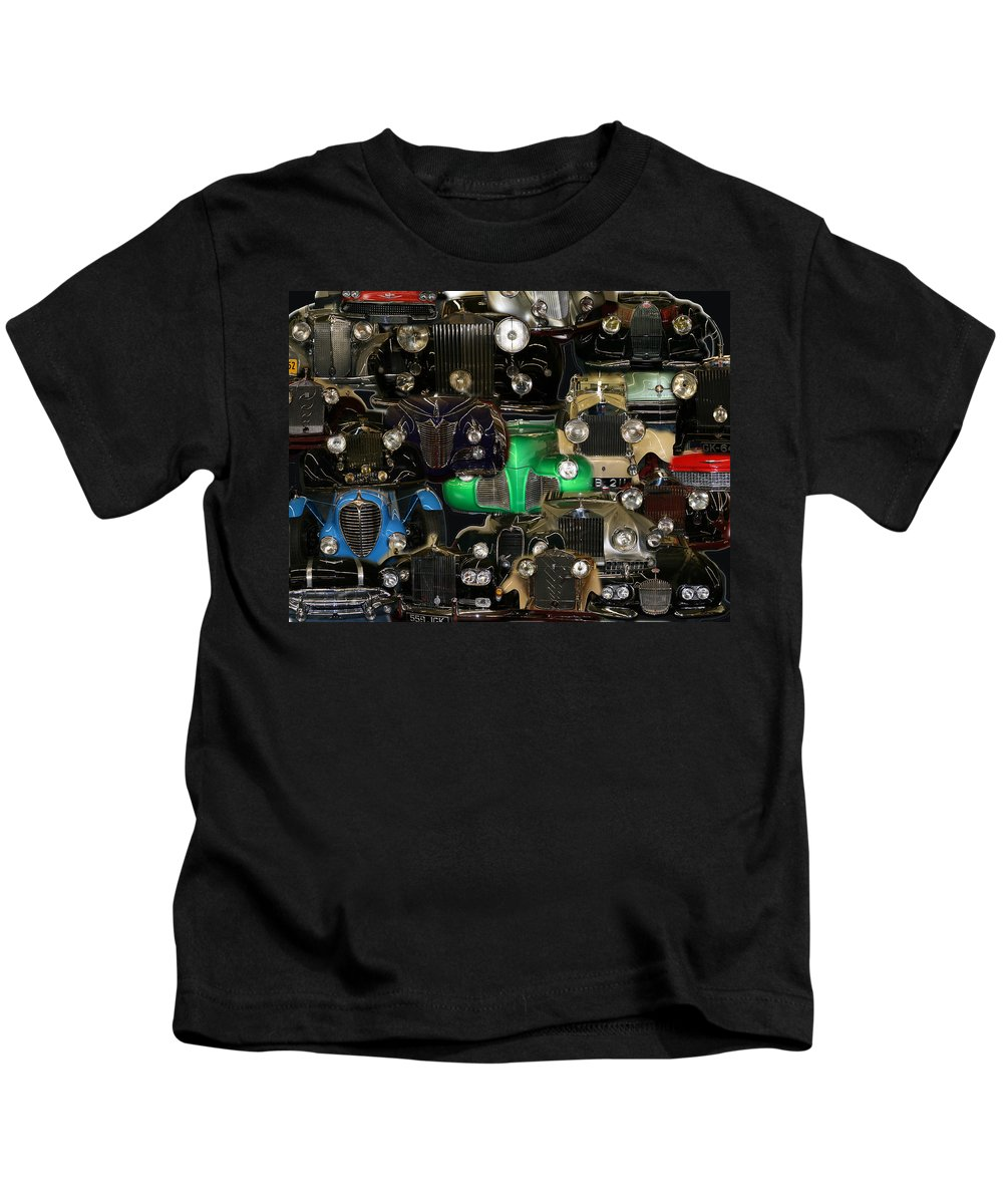 Car Grill Hood Vehicles Classic Automobile Kids T-Shirt featuring the photograph Gettin Grilled by Andrea Lawrence