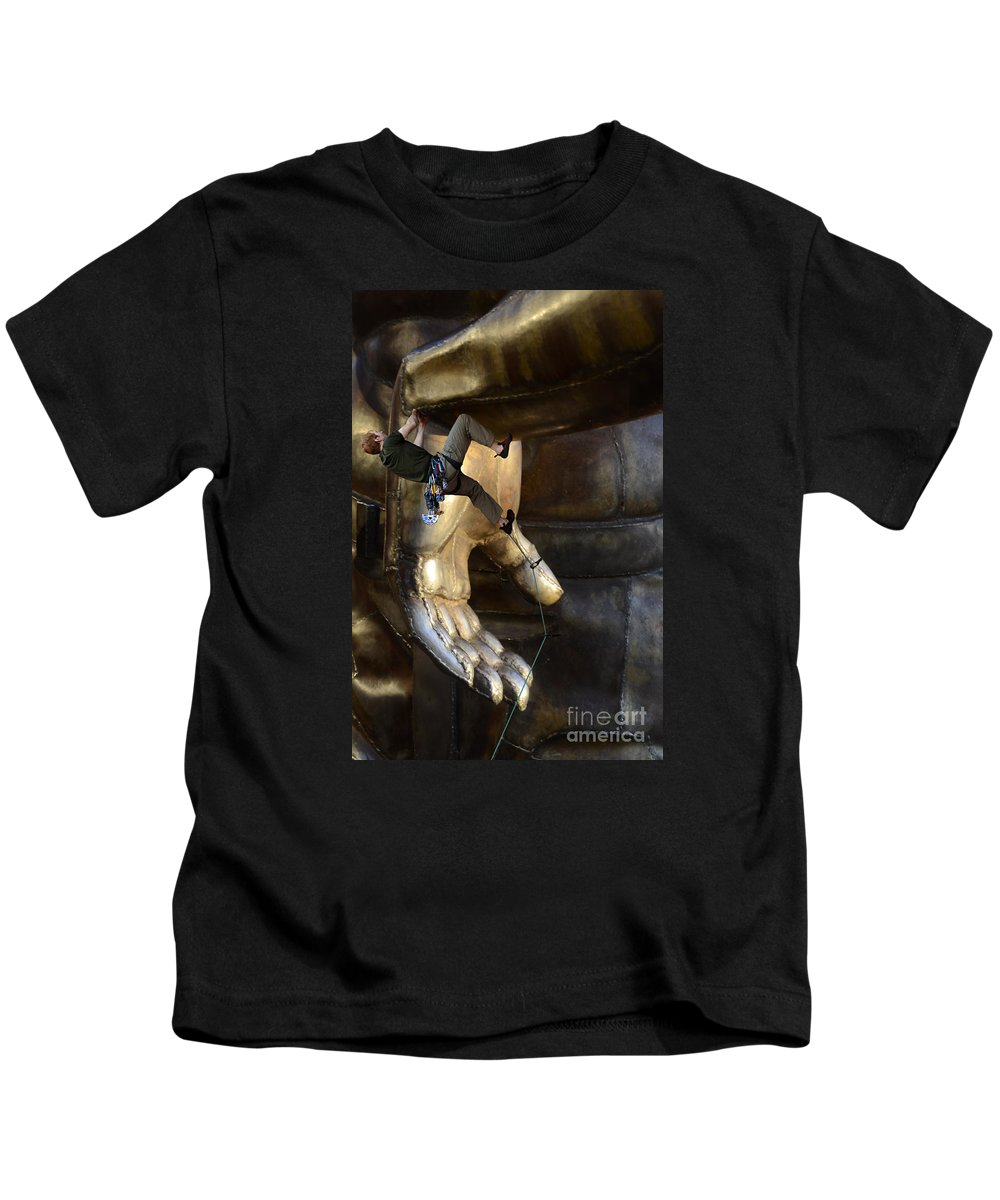 Climber Kids T-Shirt featuring the photograph Getting A Hand Up by Bob Christopher