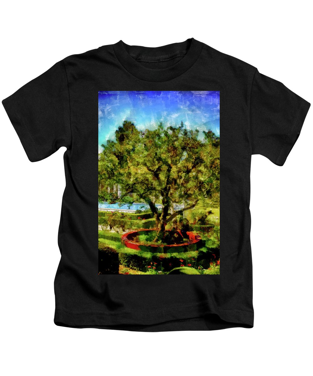 Attraction Kids T-Shirt featuring the mixed media Getty Villa Landscape by Joseph Hollingsworth