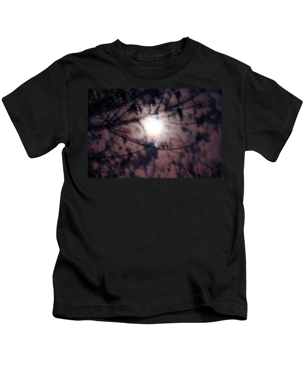 Dark Kids T-Shirt featuring the photograph Ghostly Moon by Jamie Lynn