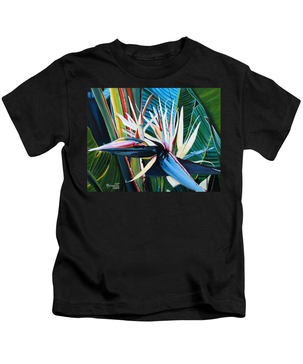 Bird Kids T-Shirt featuring the painting Giant Bird Of Paradise by Marionette Taboniar